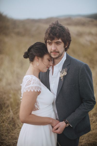 intimate photo of a bride and groom