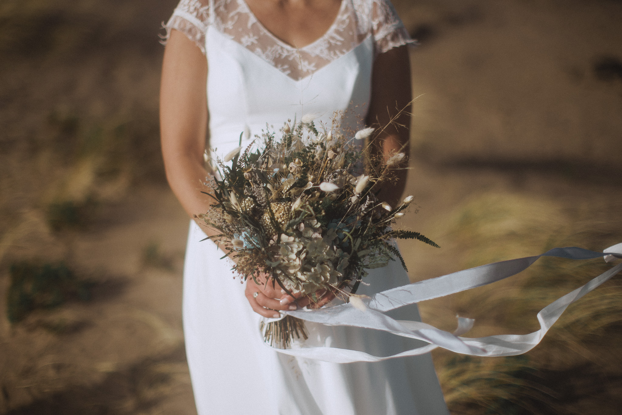 dried flower bouquet on the beach