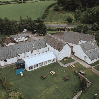 Aerial photo of Hafod Farm, wedding venue