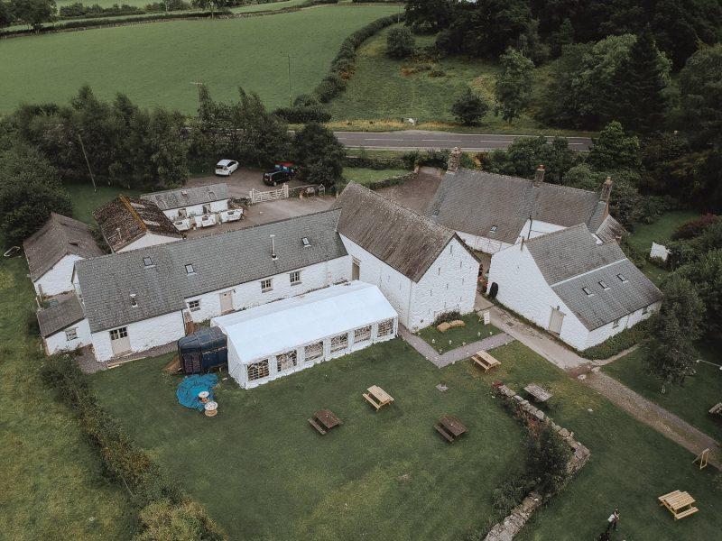 Aerial photo of Hafod Farm, wedding venue