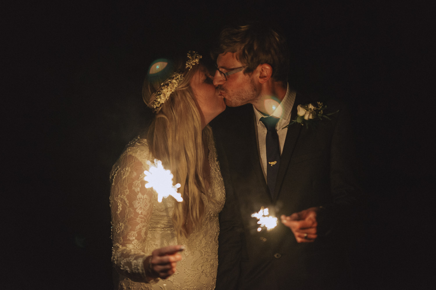 Sparkler photo at a wedding