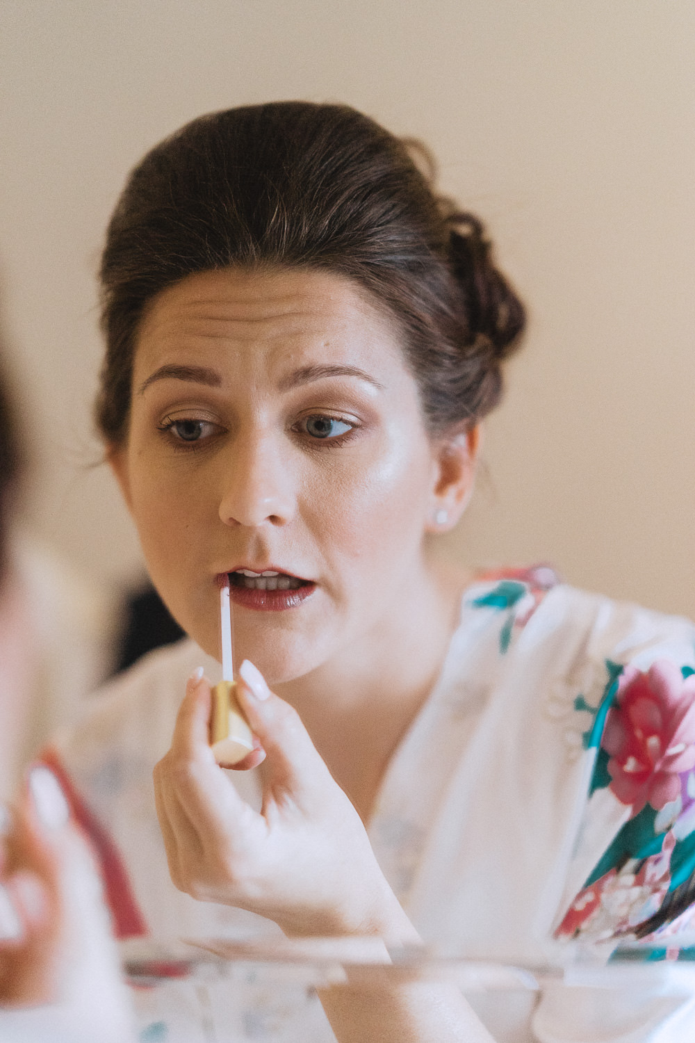 Scout Hut Wedding from Fox & Bear Photography - Bride applying make up