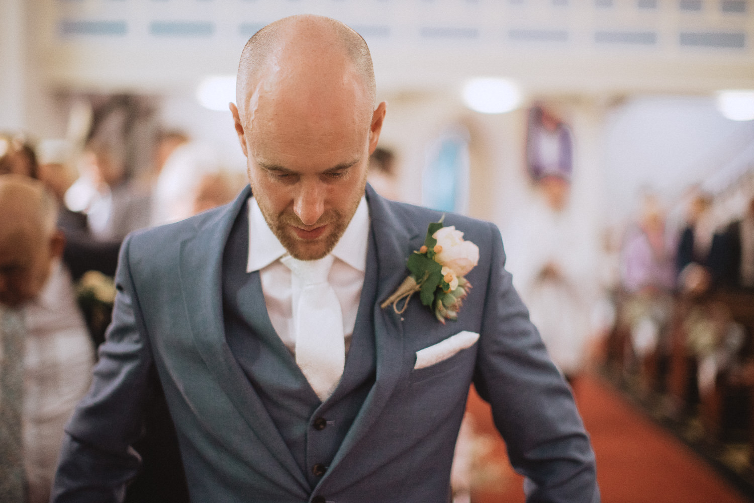 Scout Hut Wedding from Fox & Bear Photography - Groom looking nervous