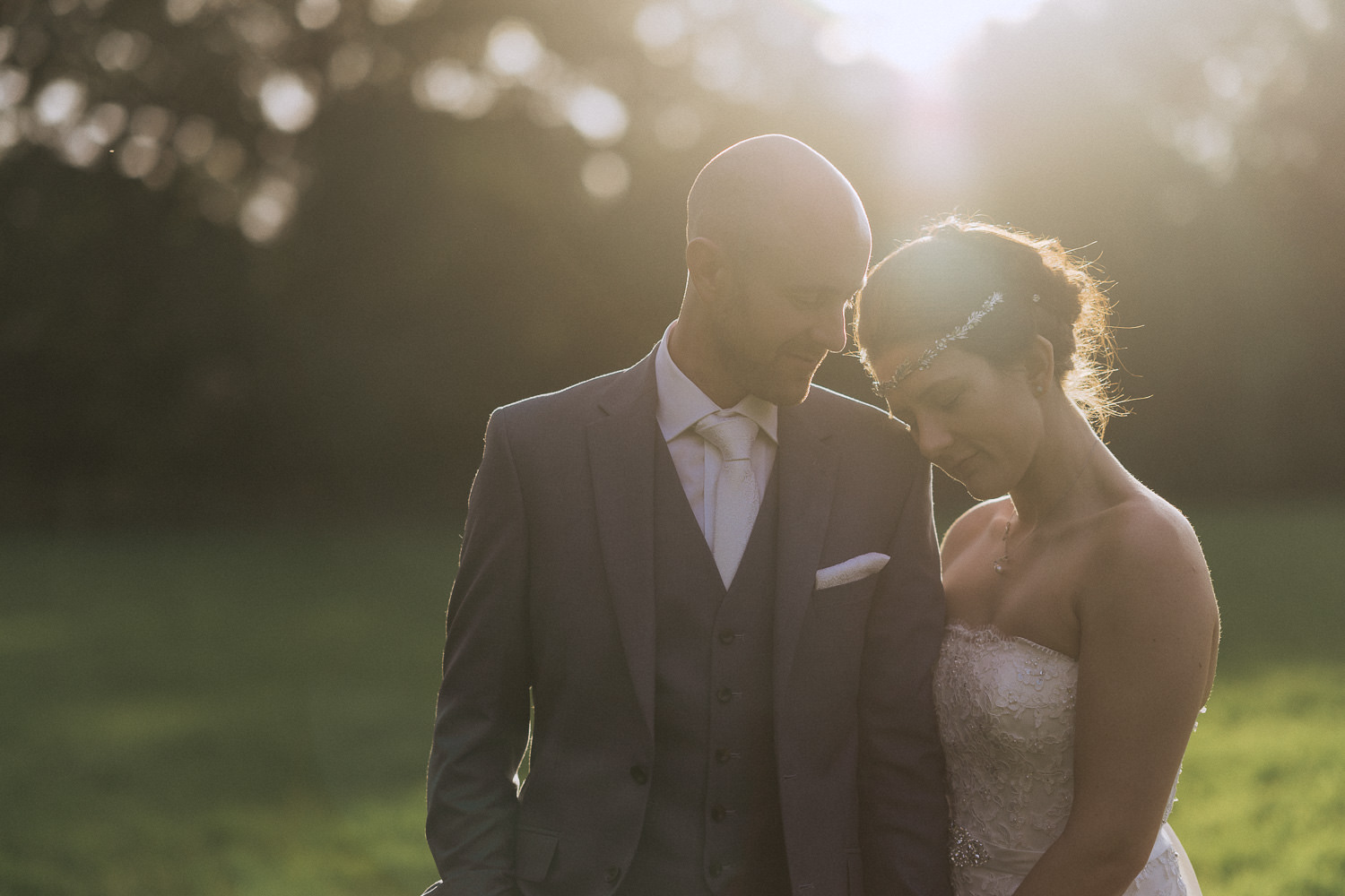 Scout Hut Wedding from Fox & Bear Photography - bride and groom in the sunset in Macclesfield Forest