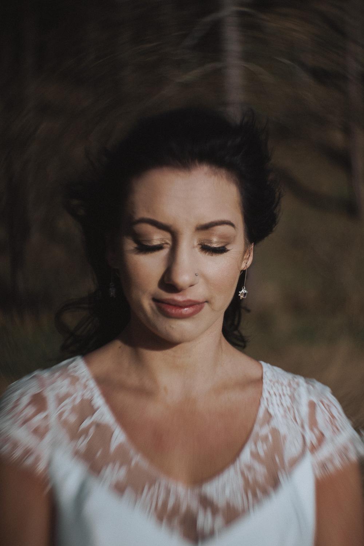 Close up of a bride using a Petzval lens