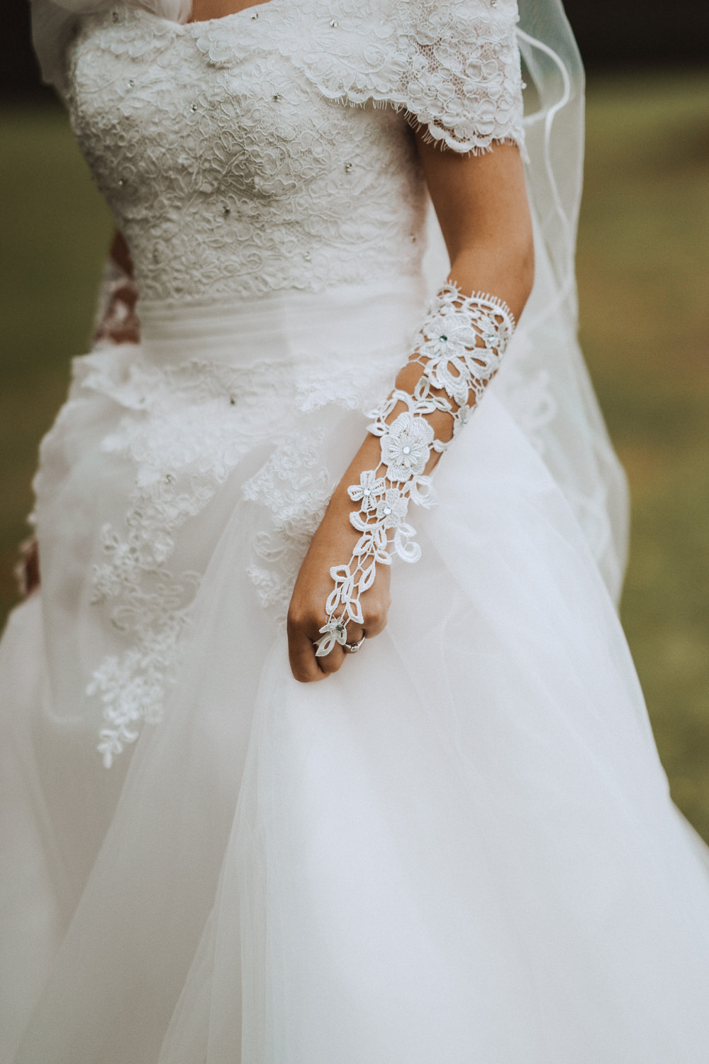 Close up of a wedding dress at Inglewood Manor, Cheshire