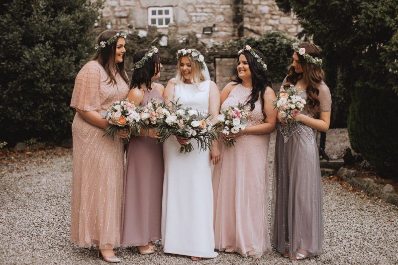 Bride and her bridesmaids at faenol fawr, denbigh, north wales